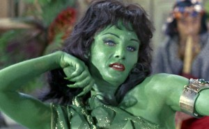 The famous green skinned woman. Not only did Kirk not sleep with her, he didn't even meet her. She appeared in the pilot episode alongside Kirk's predecessor.